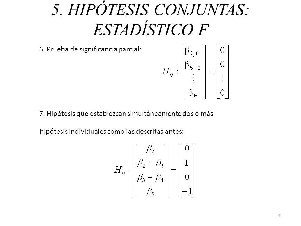 5. HIPÓTESIS CONJUNTAS: ESTADÍSTICO F 6. Prueba de significancia parcial: 7. Hipótesis que establezcan simultáneamente dos o más hipótesis individuale