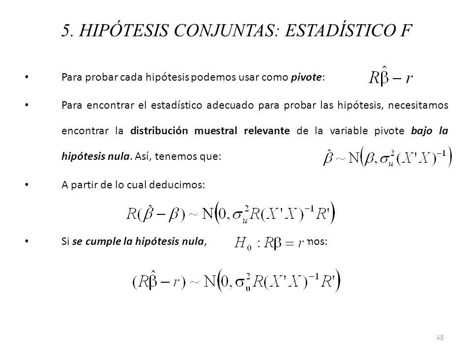 5. HIPÓTESIS CONJUNTAS: ESTADÍSTICO F Para probar cada hipótesis podemos usar como pivote: Para encontrar el estadístico adecuado para probar las hipó