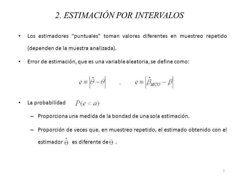 Para un problema de estimación, si se conociera la distribución muestral del estimador, sería sencillo calcular : En un contexto de estimación, es importante encontrar un valor de a tal que: De esta manera, se puede obtener un estimador por intervalos para 6 2.
