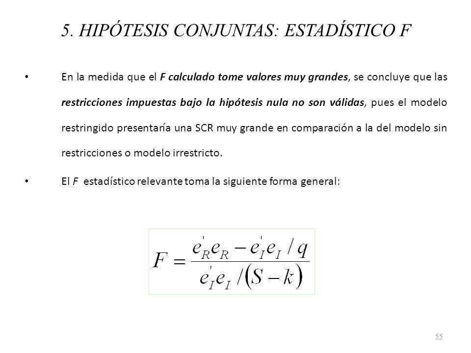 5. HIPÓTESIS CONJUNTAS: ESTADÍSTICO F En la medida que el F calculado tome valores muy grandes, se concluye que las restricciones impuestas bajo la hi