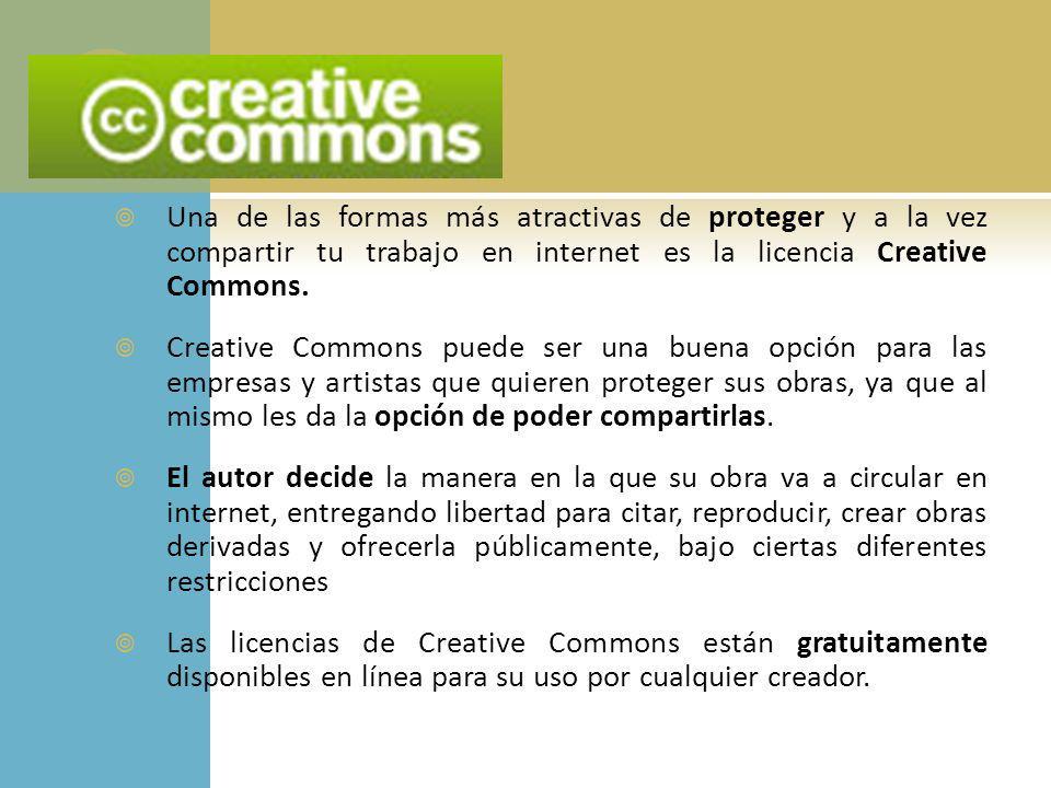 Una de las formas más atractivas de proteger y a la vez compartir tu trabajo en internet es la licencia Creative Commons.
