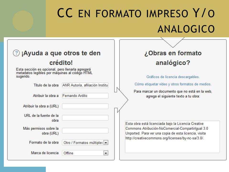 CC EN FORMATO IMPRESO Y/ O ANALOGICO