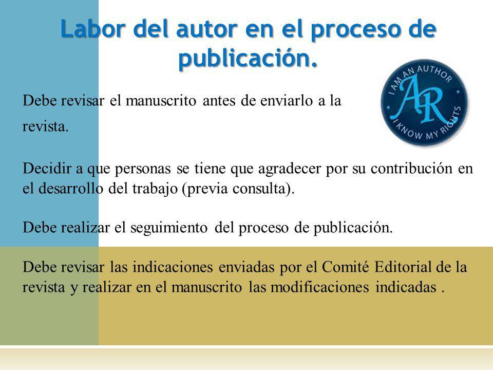 Labor del autor en el proceso de publicación.