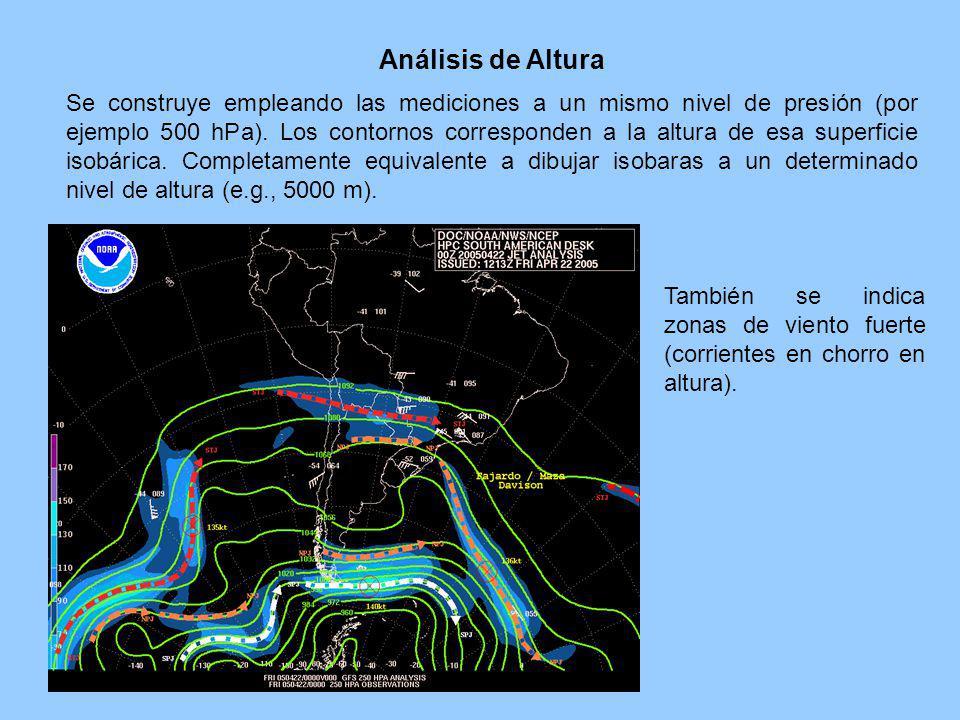 Análisis de Altura Se construye empleando las mediciones a un mismo nivel de presión (por ejemplo 500 hPa). Los contornos corresponden a la altura de