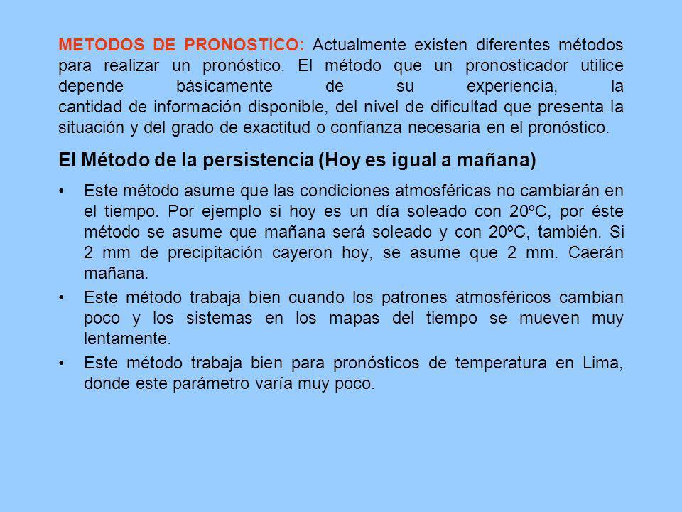 METODOS DE PRONOSTICO: Actualmente existen diferentes métodos para realizar un pronóstico. El método que un pronosticador utilice depende básicamente