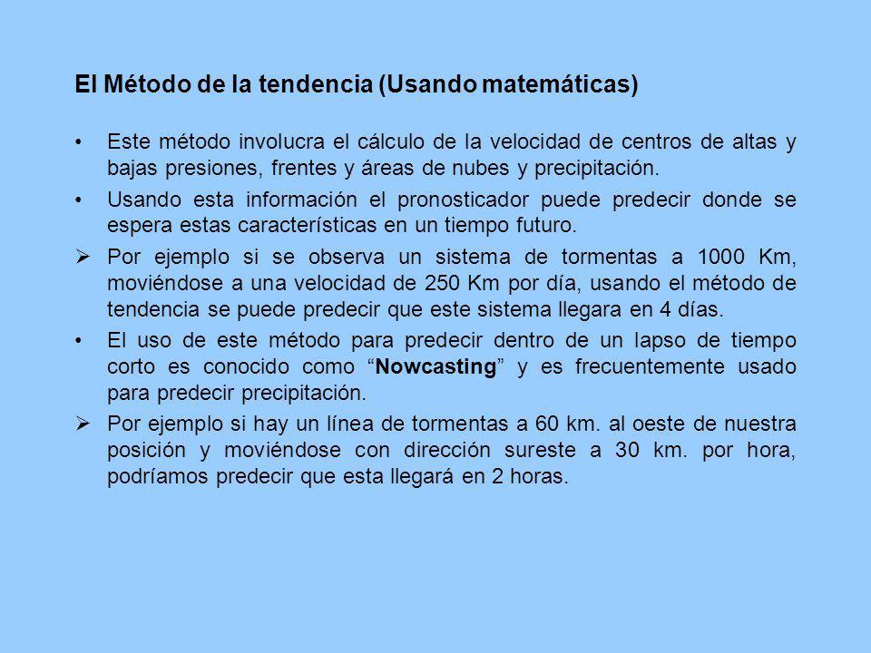 El Método de la tendencia (Usando matemáticas) Este método involucra el cálculo de la velocidad de centros de altas y bajas presiones, frentes y áreas