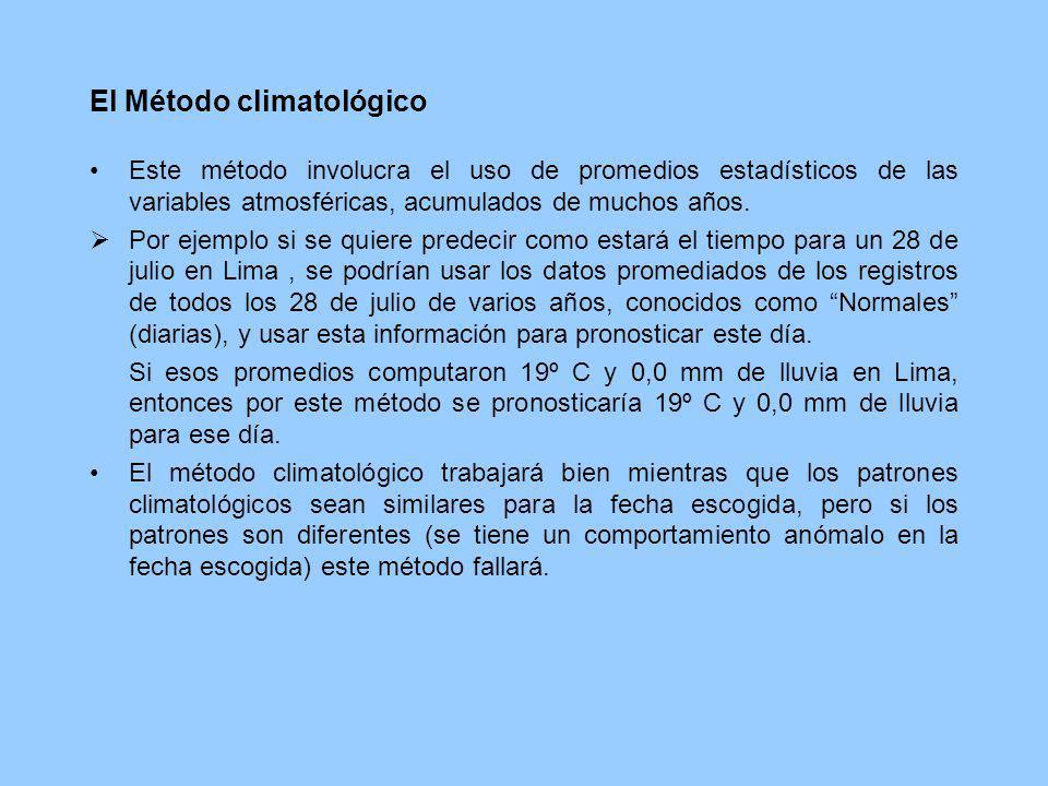El Método climatológico Este método involucra el uso de promedios estadísticos de las variables atmosféricas, acumulados de muchos años. Por ejemplo s