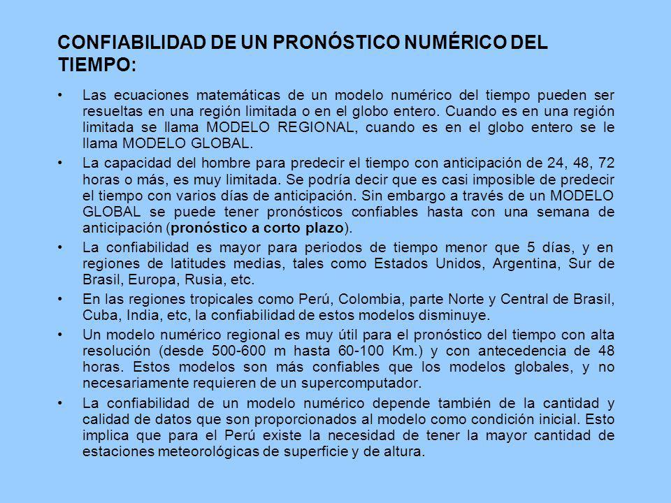 CONFIABILIDAD DE UN PRONÓSTICO NUMÉRICO DEL TIEMPO: Las ecuaciones matemáticas de un modelo numérico del tiempo pueden ser resueltas en una región lim