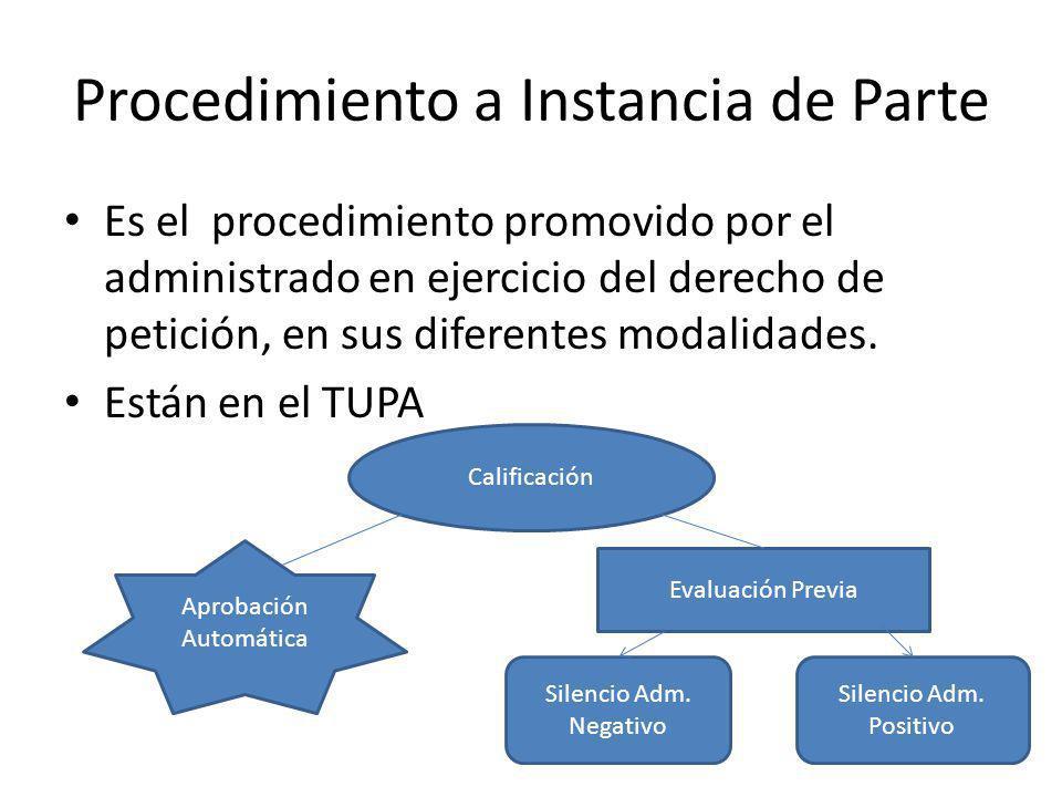 Procedimiento a Instancia de Parte Es el procedimiento promovido por el administrado en ejercicio del derecho de petición, en sus diferentes modalidad