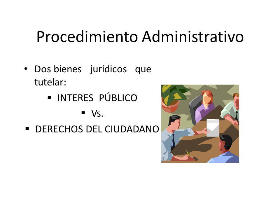 Procedimiento Administrativo Dos bienes jurídicos que tutelar: INTERES PÚBLICO Vs. DERECHOS DEL CIUDADANO