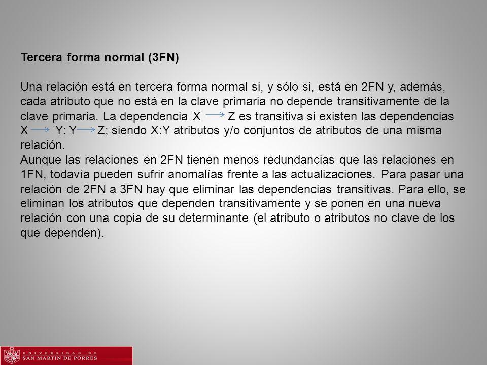Tercera forma normal (3FN) Una relación está en tercera forma normal si, y sólo si, está en 2FN y, además, cada atributo que no está en la clave primaria no depende transitivamente de la clave primaria.