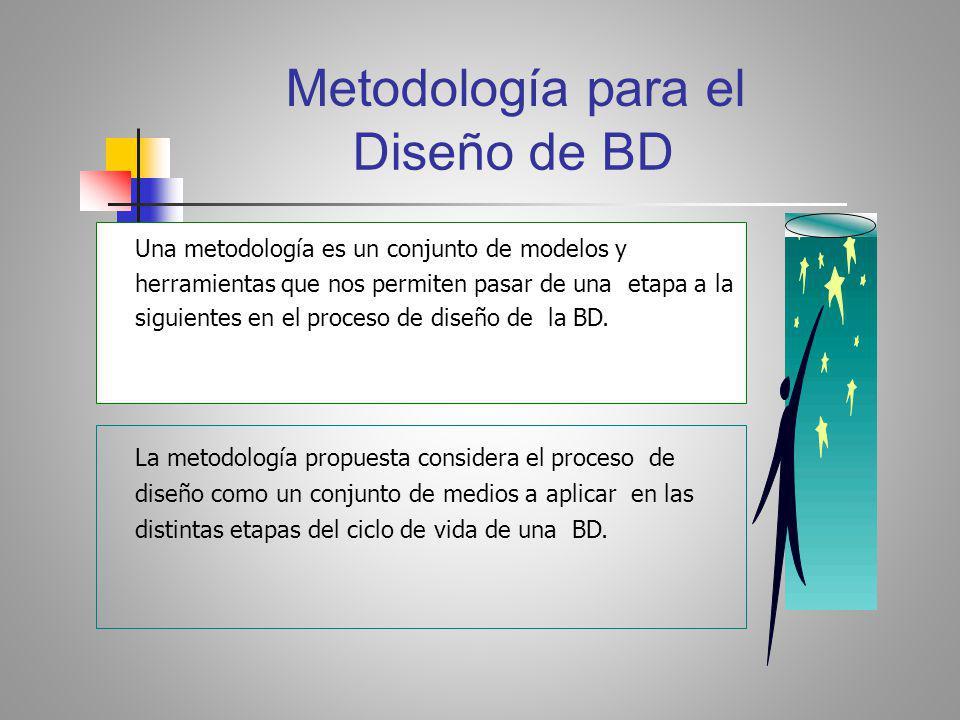 Diseño de BD Una metodología es un conjunto de modelos y herramientas que nos permiten pasar de una etapa a la siguientes en el proceso de diseño de la BD.