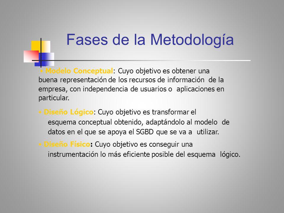 Fases de la Metodología Modelo Conceptual: Cuyo objetivo es obtener una buena representación de los recursos de información de la empresa, con independencia de usuarios o aplicaciones en particular.