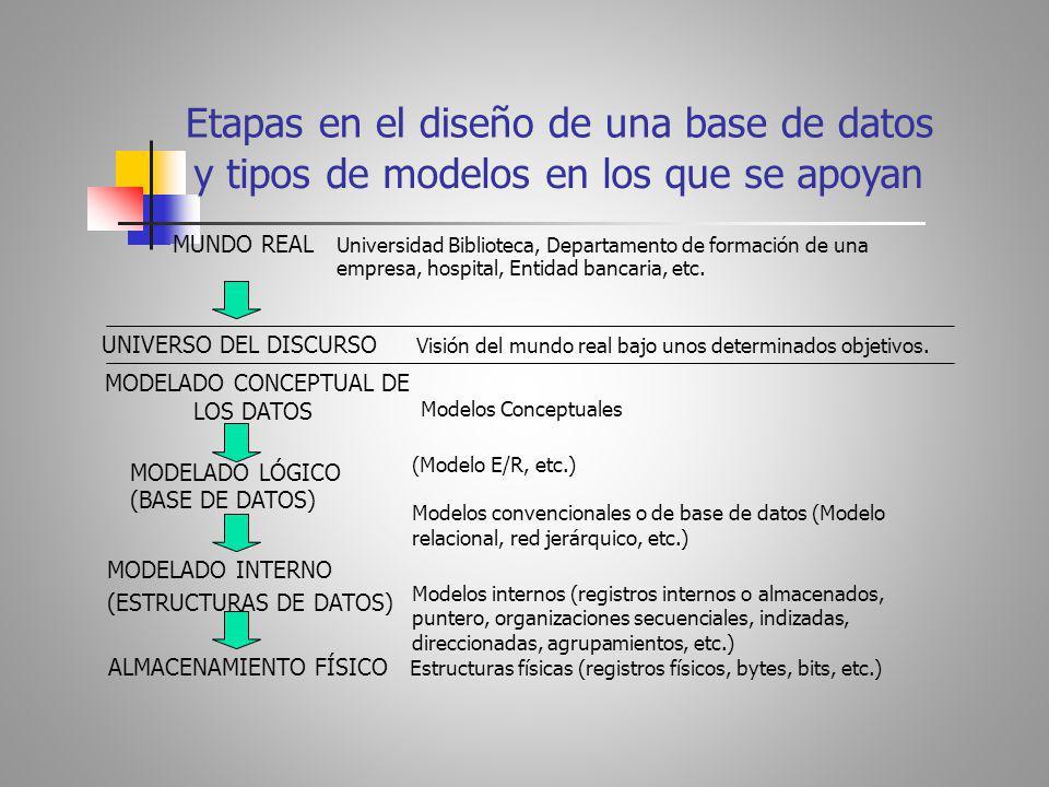 y tipos de modelos en los que se apoyan Etapas en el diseño de una base de datos MUNDO REAL Universidad Biblioteca, Departamento de formación de una empresa, hospital, Entidad bancaria, etc.