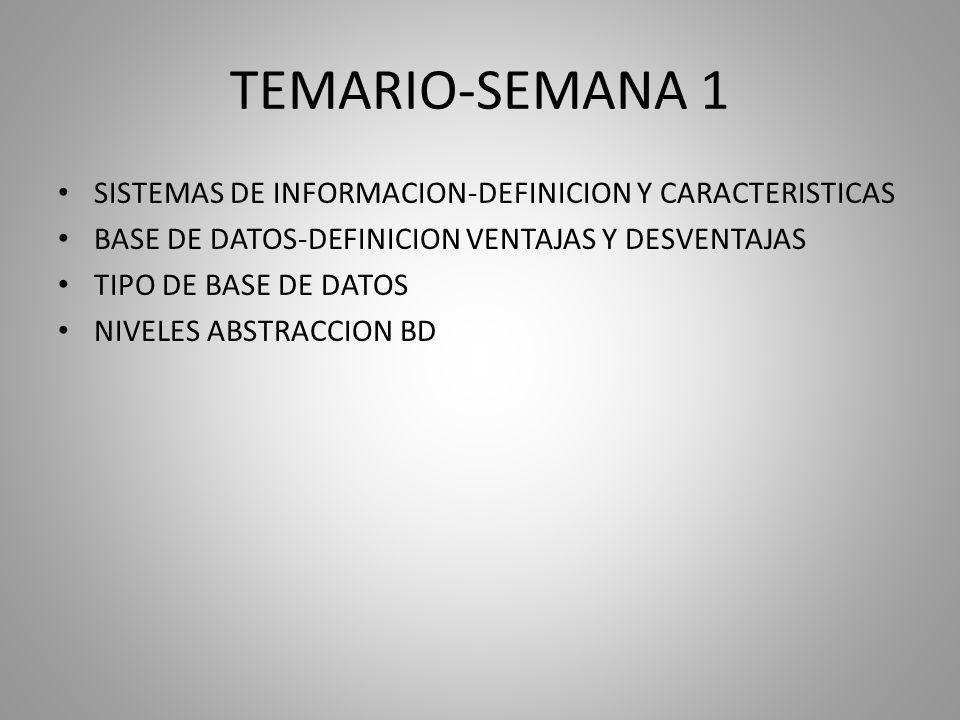 TEMARIO-SEMANA 1 SISTEMAS DE INFORMACION-DEFINICION Y CARACTERISTICAS BASE DE DATOS-DEFINICION VENTAJAS Y DESVENTAJAS TIPO DE BASE DE DATOS NIVELES ABSTRACCION BD