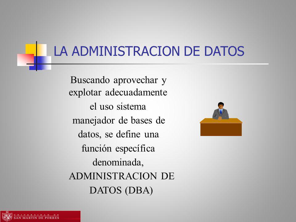 LA ADMINISTRACION DE DATOS Buscando aprovechar y explotar adecuadamente el uso sistema manejador de bases de datos, se define una función específica denominada, ADMINISTRACION DE DATOS (DBA)