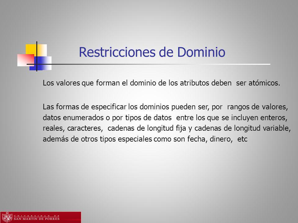 Restricciones de Dominio Los valores que forman el dominio de los atributos deben ser atómicos.