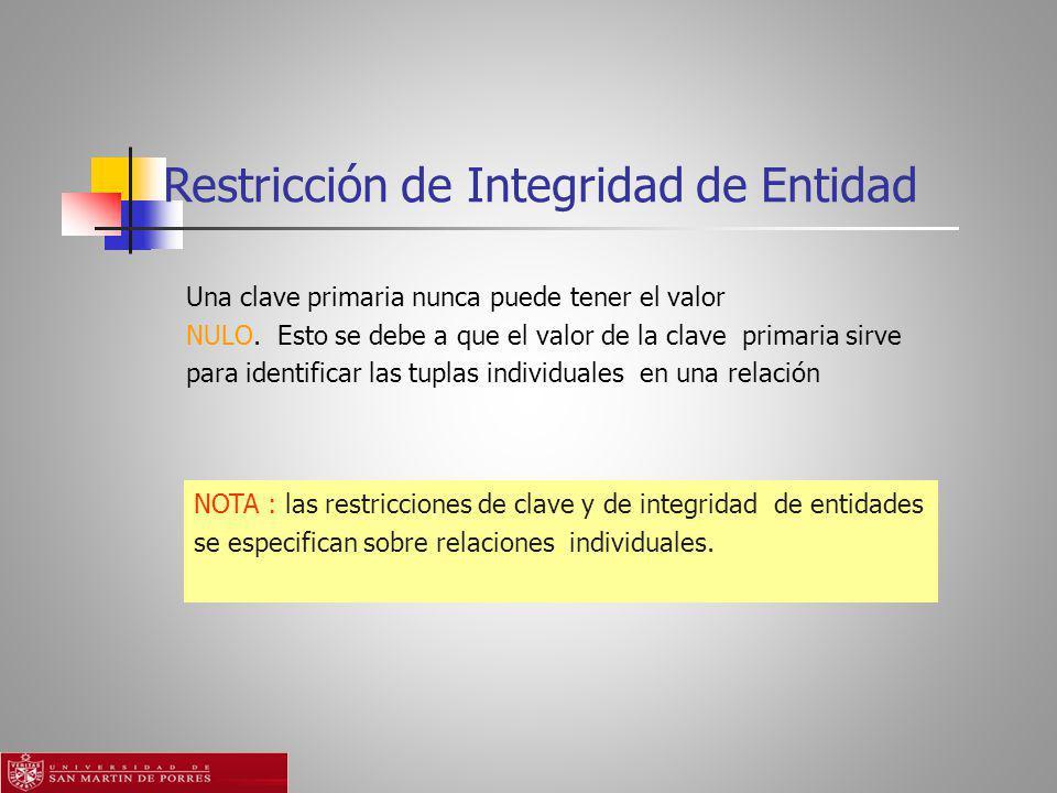 Restricción de Integridad de Entidad NOTA : las restricciones de clave y de integridad de entidades se especifican sobre relaciones individuales.