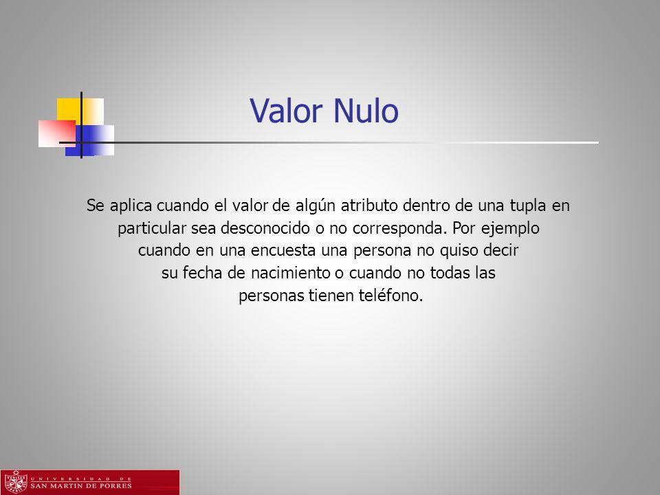 Valor Nulo Se aplica cuando el valor de algún atributo dentro de una tupla en particular sea desconocido o no corresponda.