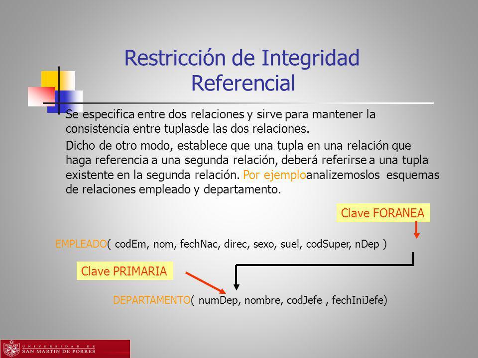 Referencial Clave FORANEAClave PRIMARIA Restricción de Integridad Se especifica entre dos relaciones y sirve para mantener la consistencia entre tuplasde las dos relaciones.