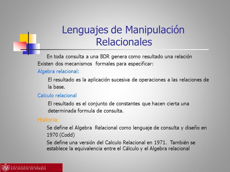 Relacionales En toda consulta a una BDR genera como resultado una relación Lenguajes de Manipulación Existen dos mecanismos formales para especificar: Algebra relacional: El resultado es la aplicación sucesiva de operaciones a las relaciones de la base.