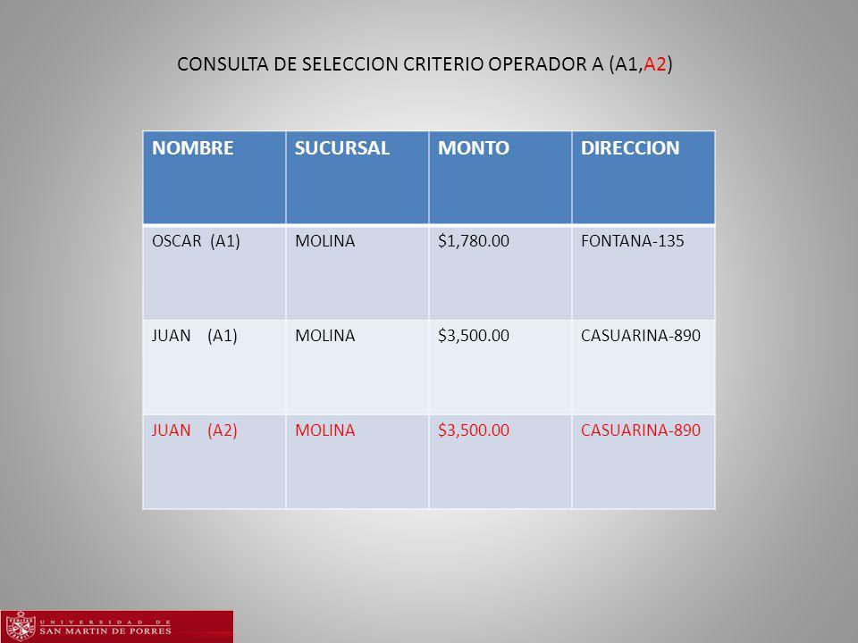 NOMBRESUCURSALMONTODIRECCION OSCAR (A1)MOLINA$1,780.00FONTANA-135 JUAN (A1)MOLINA$3,500.00CASUARINA-890 JUAN (A2)MOLINA$3,500.00CASUARINA-890 CONSULTA DE SELECCION CRITERIO OPERADOR A (A1,A2)