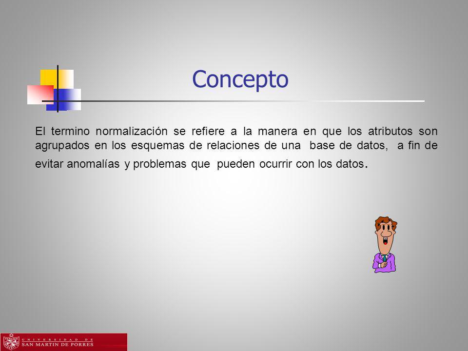 Concepto El termino normalización se refiere a la manera en que los atributos son agrupados en los esquemas de relaciones de una base de datos, a fin de evitar anomalías y problemas que pueden ocurrir con los datos.