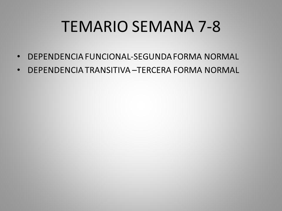 TEMARIO SEMANA 7-8 DEPENDENCIA FUNCIONAL-SEGUNDA FORMA NORMAL DEPENDENCIA TRANSITIVA –TERCERA FORMA NORMAL