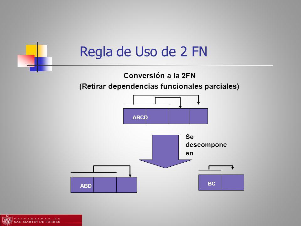 Regla de Uso de 2 FN ABCD ABD Se descompone en BC Conversión a la 2FN (Retirar dependencias funcionales parciales)
