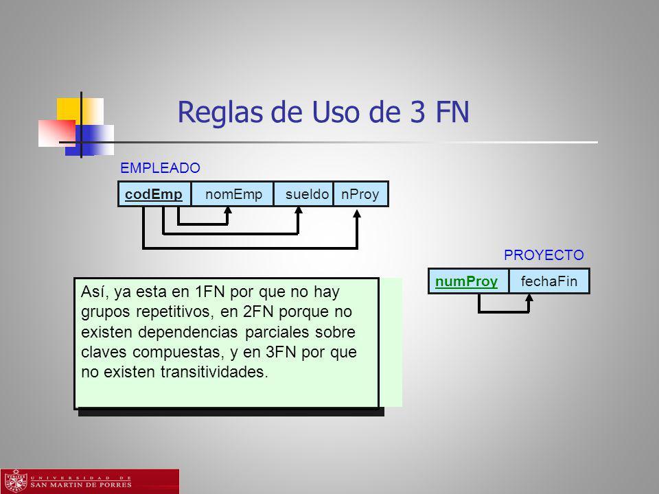 Reglas de Uso de 3 FN Así, ya esta en 1FN por que no hay grupos repetitivos, en 2FN porque no existen dependencias parciales sobre claves compuestas, y en 3FN por que no existen transitividades.