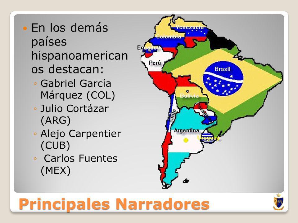 Principales Narradores En el Perú: Los más importantes son: Mario Vargas Llosa Julio Ramón Riveyro Alfredo Bryce Echenique.