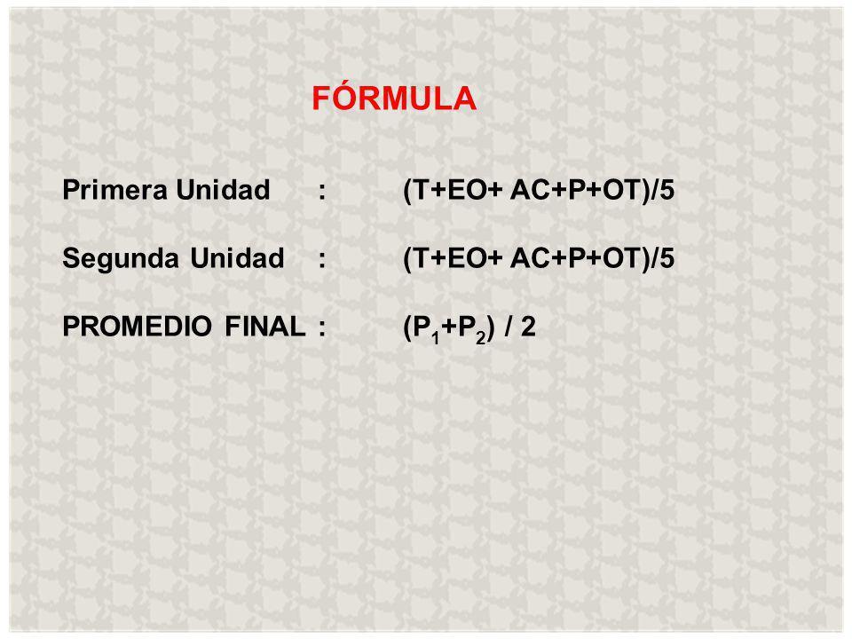 FÓRMULA Primera Unidad:(T+EO+ AC+P+OT)/5 Segunda Unidad: (T+EO+ AC+P+OT)/5 PROMEDIO FINAL: (P 1 +P 2 ) / 2