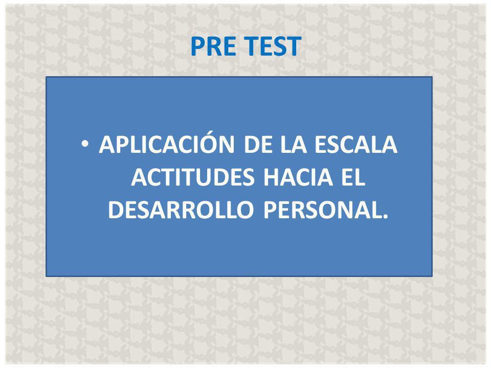 PRE TEST APLICACIÓN DE LA ESCALA ACTITUDES HACIA EL DESARROLLO PERSONAL.