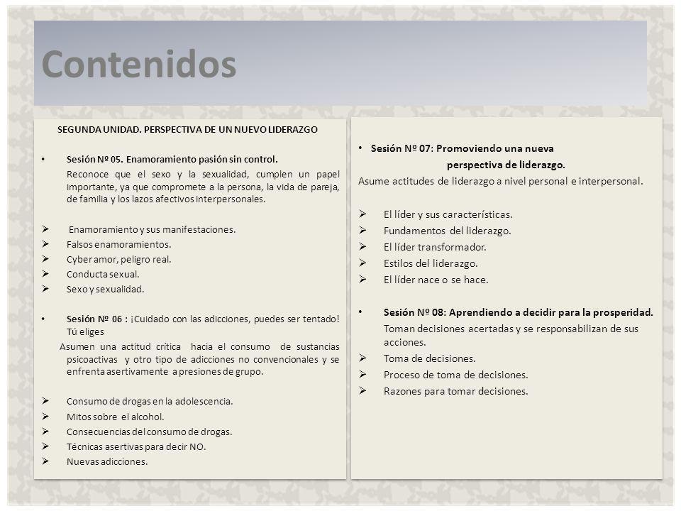 SEGUNDA UNIDAD.PERSPECTIVA DE UN NUEVO LIDERAZGO Sesión Nº 05.
