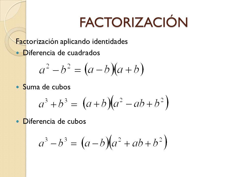 FACTORIZACIÓN Factorización aplicando identidades Diferencia de cuadrados Suma de cubos Diferencia de cubos