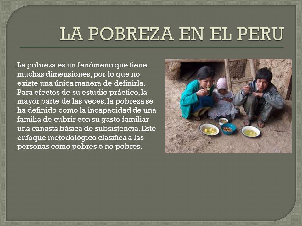 La pobreza es un fenómeno que tiene muchas dimensiones, por lo que no existe una única manera de definirla.