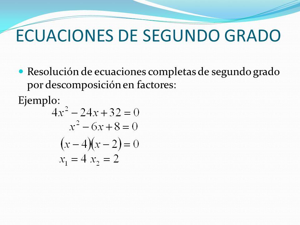 ECUACIONES DE SEGUNDO GRADO Resolución de ecuaciones completas de segundo grado por descomposición en factores: Ejemplo: