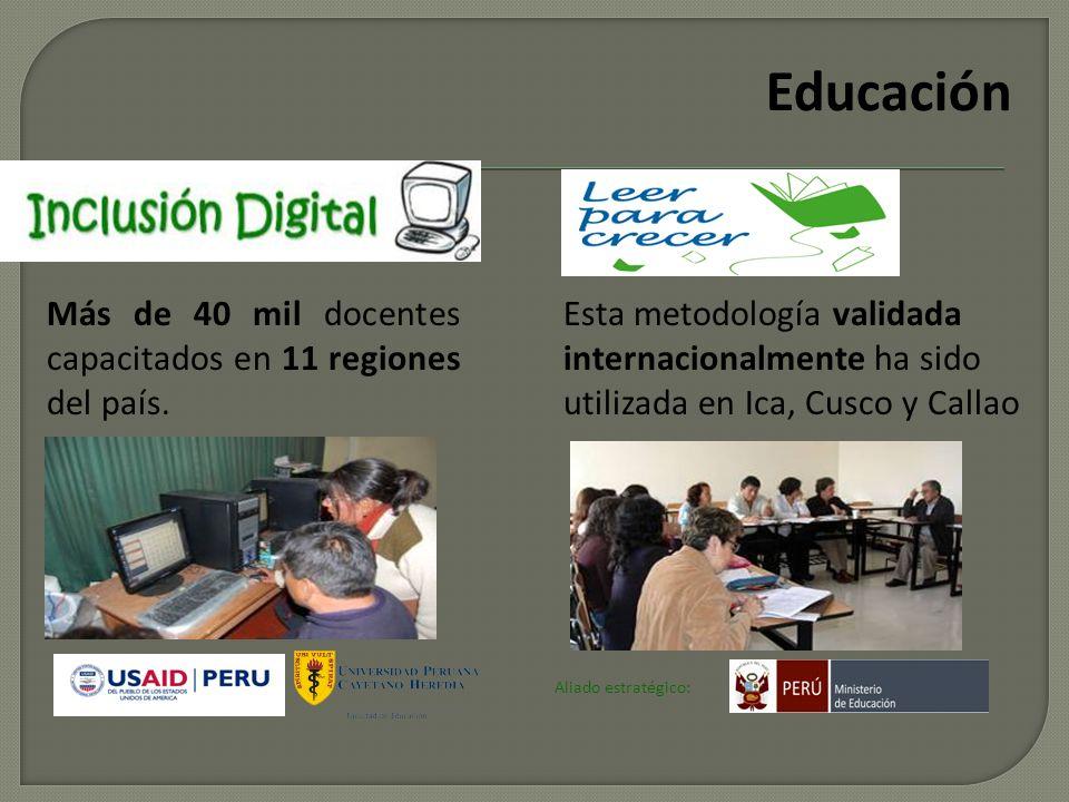 Empresarios por la Educación ha logrado comprometer US$ 14 MM en proyectos de desarrollo en 12 regiones del país. Inclusión digital Articulación y apo