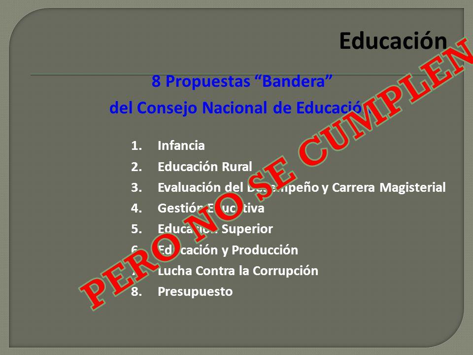 8 Propuestas Bandera del Consejo Nacional de Educación Educación 1.Infancia 2.Educación Rural 3.Evaluación del Desempeño y Carrera Magisterial 4.Gesti