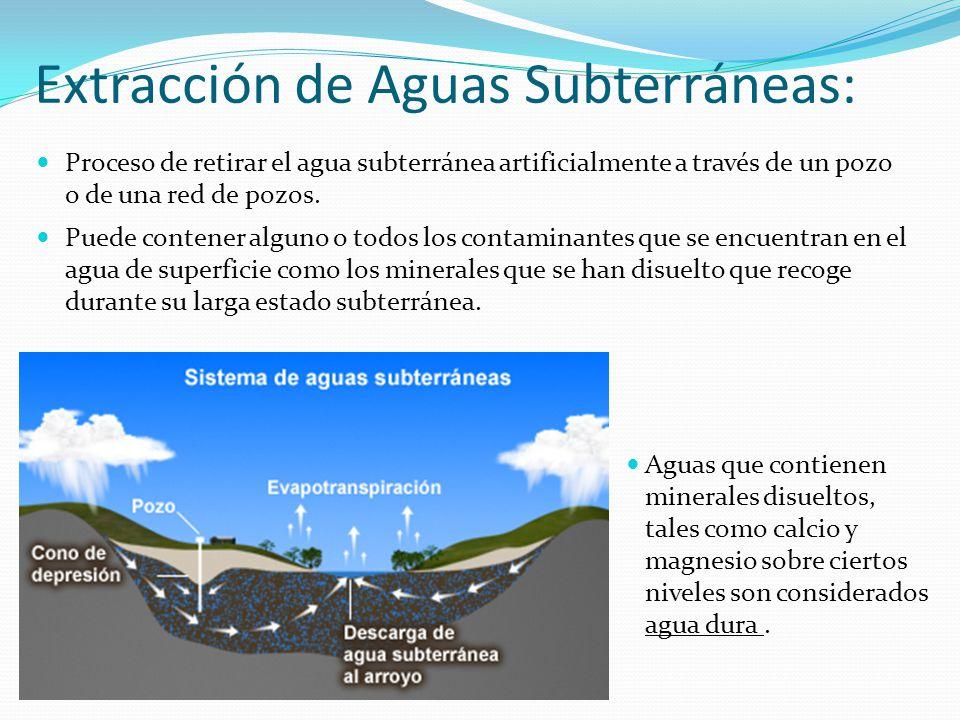 Aguas que contienen minerales disueltos, tales como calcio y magnesio sobre ciertos niveles son considerados agua dura. Extracción de Aguas Subterráne
