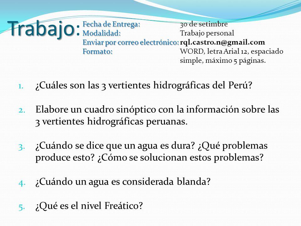 Trabajo Trabajo: 1. ¿Cuáles son las 3 vertientes hidrográficas del Perú? 2. Elabore un cuadro sinóptico con la información sobre las 3 vertientes hidr