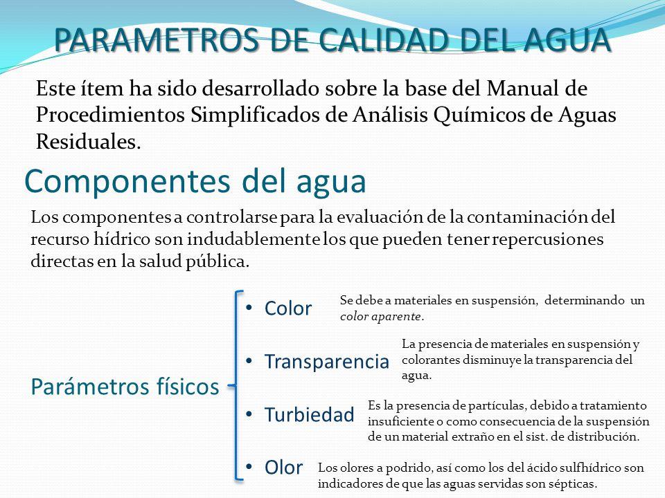 Componentes del agua Este ítem ha sido desarrollado sobre la base del Manual de Procedimientos Simplificados de Análisis Químicos de Aguas Residuales.