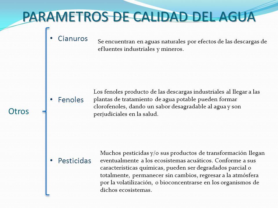 PARAMETROS DE CALIDAD DEL AGUA Otros Cianuros Fenoles Pesticidas Se encuentran en aguas naturales por efectos de las descargas de efluentes industrial