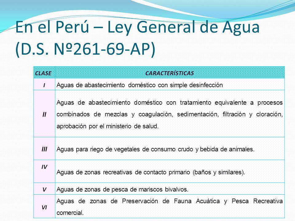En el Perú – Ley General de Agua (D.S. Nº261-69-AP) CLASECARACTERÍSTICAS I Aguas de abastecimiento doméstico con simple desinfección II Aguas de abast