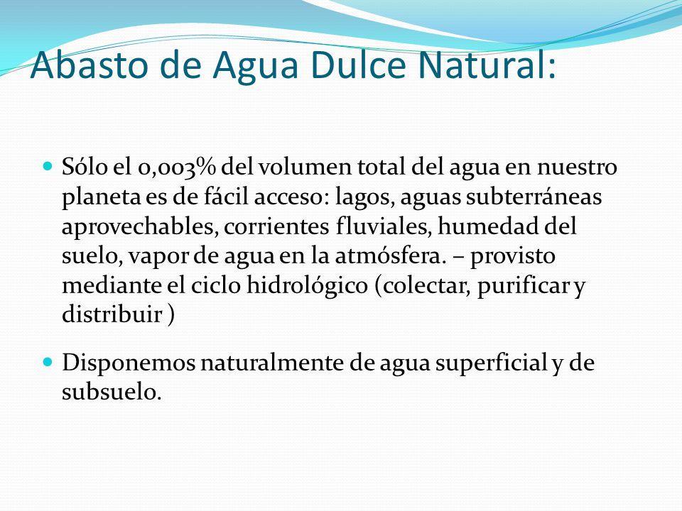 Abasto de Agua Dulce Natural: Sólo el 0,003% del volumen total del agua en nuestro planeta es de fácil acceso: lagos, aguas subterráneas aprovechables