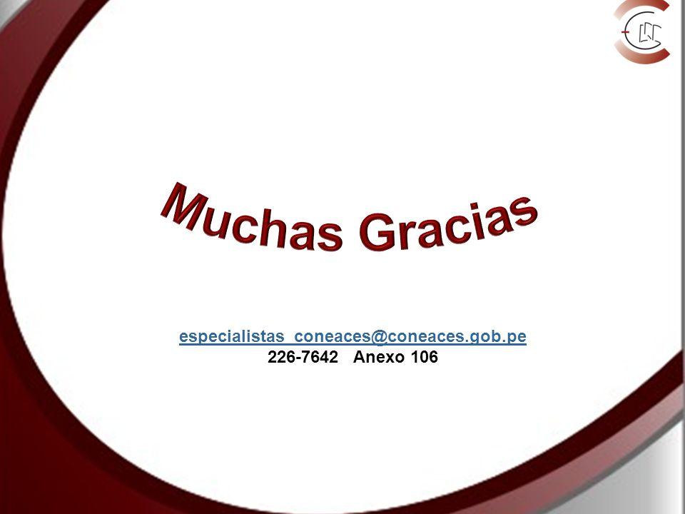 especialistas_coneaces@coneaces.gob.pe 226-7642 Anexo 106
