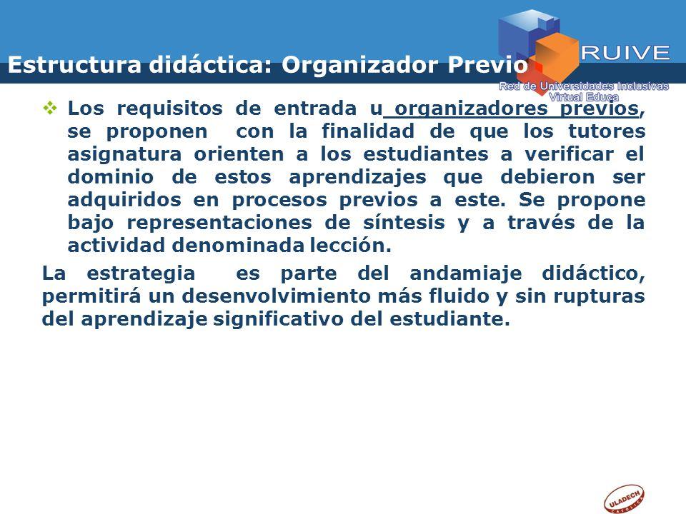 Estructura didáctica: Organizador Previo Los requisitos de entrada u organizadores previos, se proponen con la finalidad de que los tutores asignatura