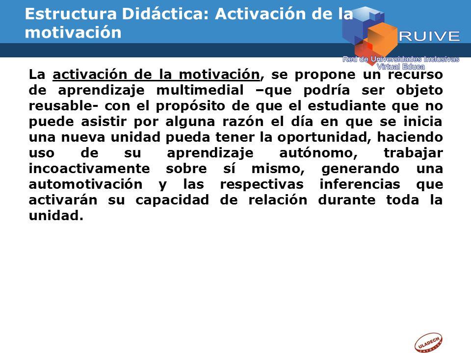 Estructura Didáctica: Activación de la motivación La activación de la motivación, se propone un recurso de aprendizaje multimedial –que podría ser obj