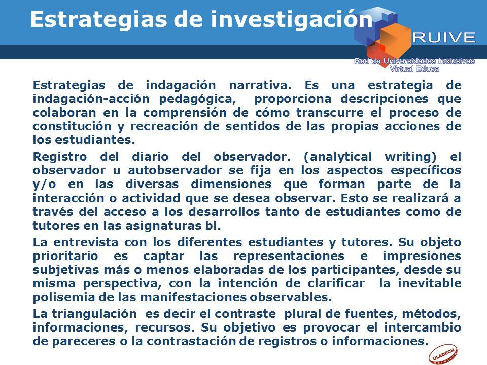 Estrategias de investigación Estrategias de indagación narrativa. Es una estrategia de indagación-acción pedagógica, proporciona descripciones que col