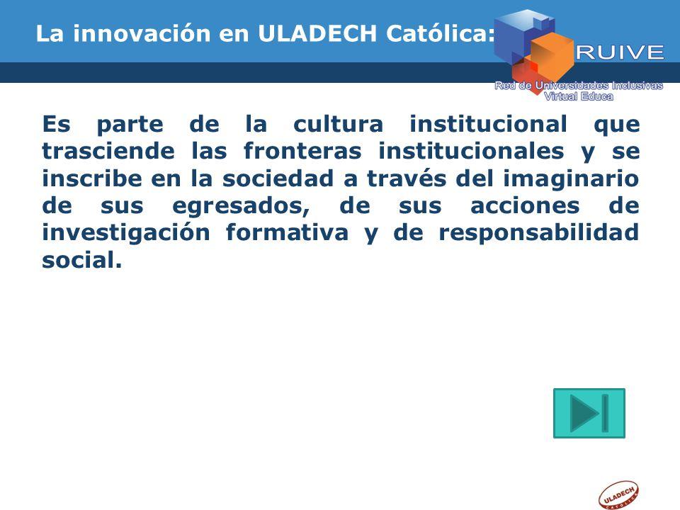 La innovación en ULADECH Católica: Es parte de la cultura institucional que trasciende las fronteras institucionales y se inscribe en la sociedad a tr